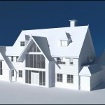 Stylised render of a large country style house